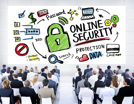 internet safety: Online Security Protection Internet Safety Business Seminar Concept Stock Photo