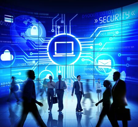 technology security: Business People Commuter Technology Security Computer Corporate Concept