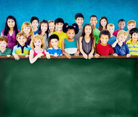 education: Diversity Friendship Group of Kids Education Blackboard Concept