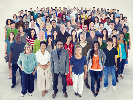 mixed race people: Crowed of Diversity People Friendship Happiness Concept