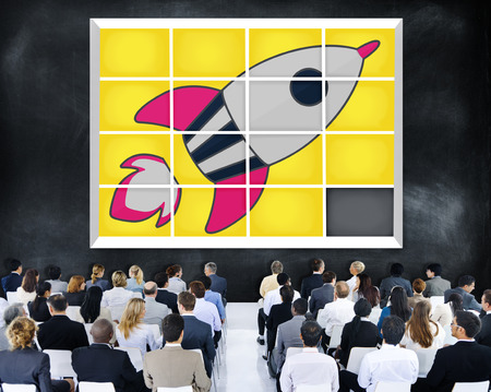 rocket man: Startup Technology Growth Success Game Puzzle Concept Stock Photo