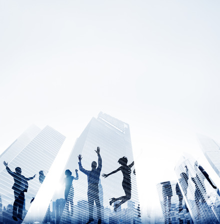 reflection of life: Business People Success Achievement City Concept Stock Photo