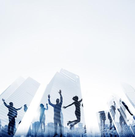 reflexion: Logro Gente de negocios Éxito City Concepto Foto de archivo