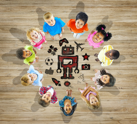 children play: Multiethnic Group of Children with Play Concept