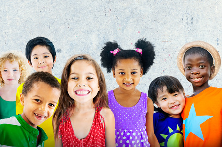 asian child: Diversity Children Friendship Innocence Smiling Concept Stock Photo