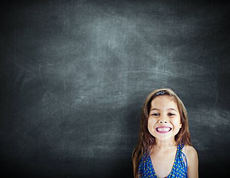 other keywords: Little Girl Smiling Happiness Copy Space Blackboard Concept
