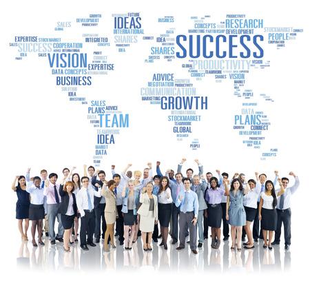 crecimiento: Negocio Global de Personas Fiestas de corporaciones �xito del crecimiento Concepto Foto de archivo