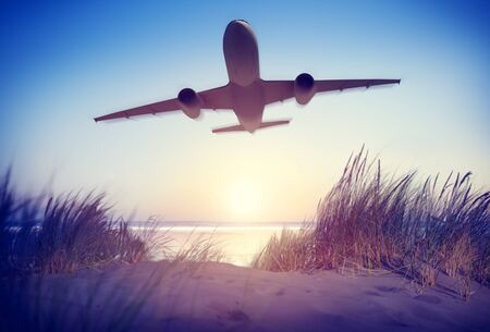 airplane take off: Airplane Travel Destination Outdoors Concept