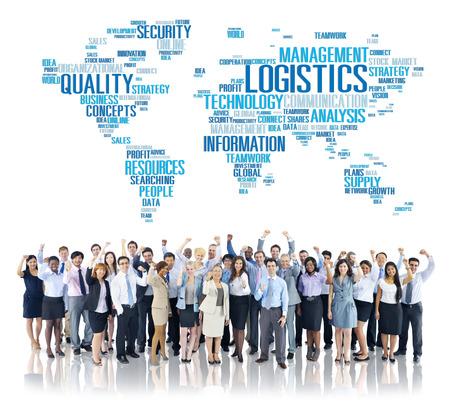alrededor del mundo: Logística Freight Management Service Concept Producción Foto de archivo