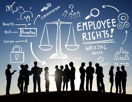 seguridad laboral: Derechos de los empleados Empleo Igualdad Trabajo Business Communication Concept Foto de archivo