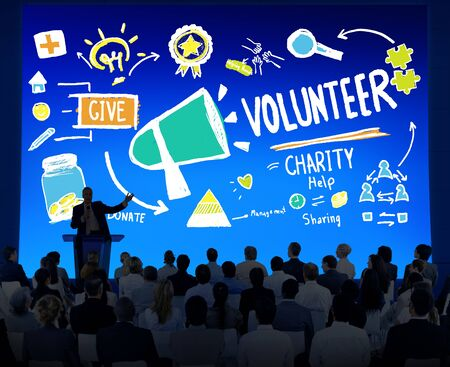 large group of business people: Volunteer Charity and Relief Work Donation Help Concept