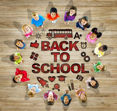 back to school kids: Multiethnic Group of Children with Back to School Concept Stock Photo