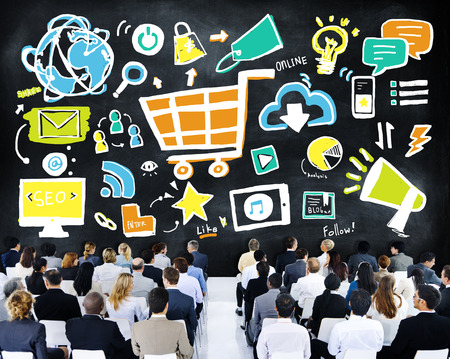 online conference: Business People Online Marketing Seminar Conference Concept Stock Photo