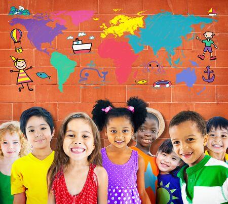 세계 어린이 여행 모험 상상 여행 개념 스톡 콘텐츠