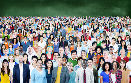community: Large Group of Diverse Multiethnic Cheerful Concept Stock Photo
