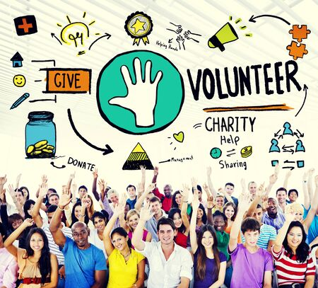 ayudando: Voluntario Caridad Ayuda Compartiendo Dar Donar Ayudar Concepto