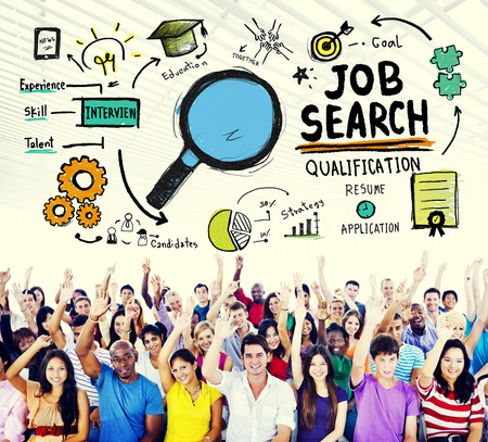 occupations and work: Job Search Qualification Resume Recruitment Hiring Application Concept