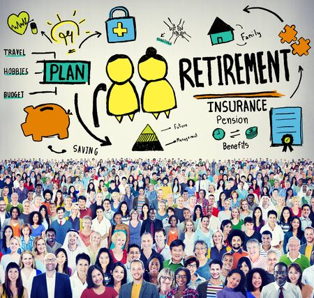 global retirement: Retirement Insurance Pension Saving Plan Benefits Travel Concept Stock Photo