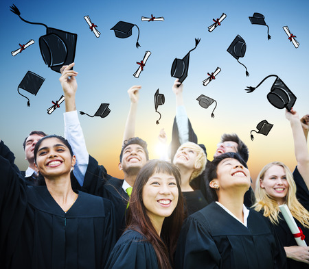 college student: Student Celebration Education Graduation Happiness Concept Stock Photo