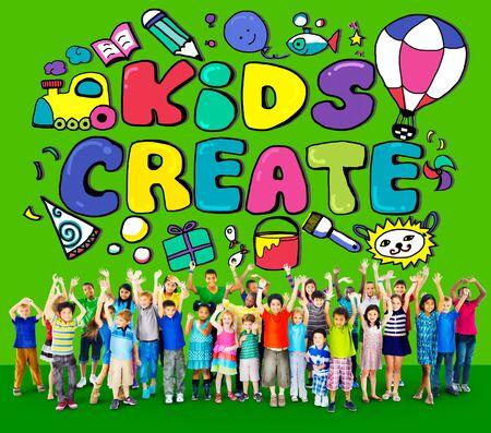 euphoric: Kids Create Cretivity Design Ideas Colorful Concept Stock Photo
