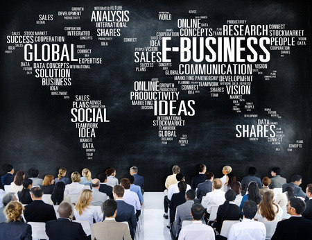 business and commerce: E-Business Global Business Commerce Online World Concept