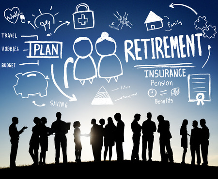 retirement age: Retirement Insurance Pension Saving Plan Benefits Travel Concept Stock Photo