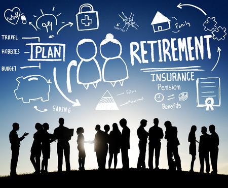 retirement savings: Retirement Insurance Pension Saving Plan Benefits Travel Concept Stock Photo