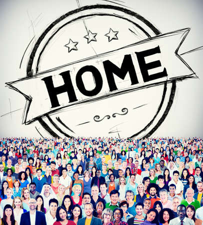 homecoming: Home Residential Family Living House Concept Stock Photo