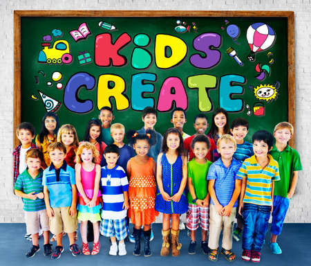 elementary age: Kids Create Cretivity Design Ideas Colorful Concept Stock Photo