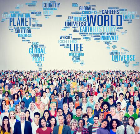 vida social: Globalización Mundial Internacional Planeta Vida Concept