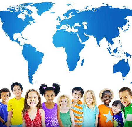 other world: Global Globalization World Map Environmental Concservation Concept Stock Photo