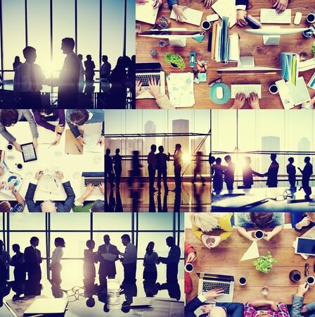 technology collage: Business People Colleagues Interaction Communication Office Collage Concept Stock Photo