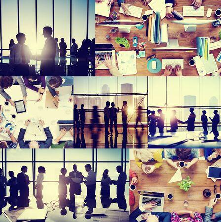 personas saludandose: Gente de negocios Colegas Interacci�n Comunicaci�n Oficina Collage Concepto
