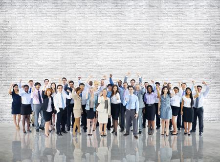 群衆ビジネス人々 お祝い成功一体チーム コンセプト 写真素材