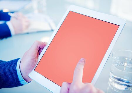 place of research: Tablet Working Using Website Technology Concept Stock Photo