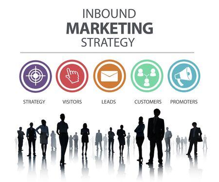 inbound marketing: Inbound Marketing Strategy Advertisement Commercial Branding Concept Stock Photo