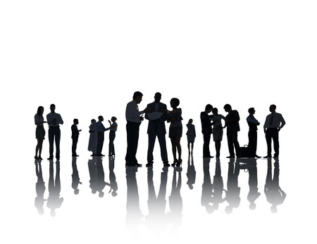 Silhouette Business People Discussion Communication Meeting Concept Stock Photo
