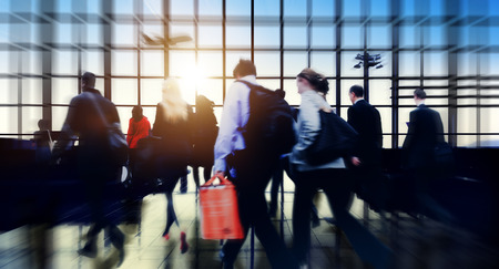 business travel: Airport Commuter Business Travel Tour Vacation Concept Stock Photo