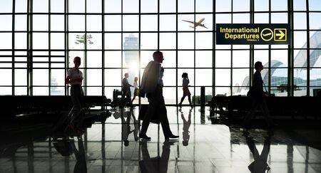 business travel: International Departtures Terminal Business Travel Transportation Flight Concept