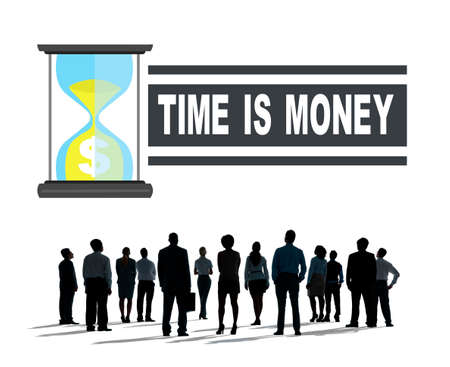 hour glass: Time Money Hour Glass Business People Concept