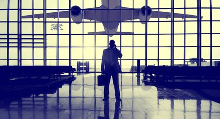 airport window: Businessman Airport Terminal Waiting Standing Alone Travel Concept