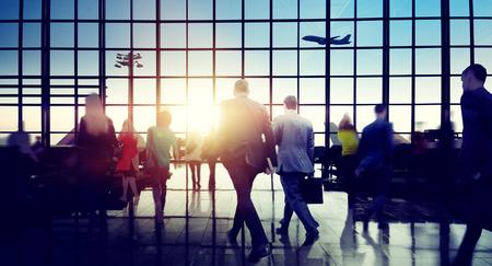 Bedrijf mensen haasten Wandelen Plane Travel Concept
