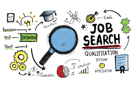 employment agency: Job Search Qualification Searching Application Concept