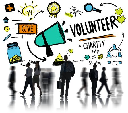 charity relief work: Volunteer Charity and Relief Work Donation Help Concept