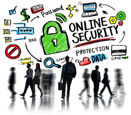 internet safety: Online Security Protection Internet Safety Business Commuter Concept Stock Photo
