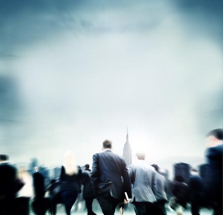 district: Business People Financial District Commuters Concept