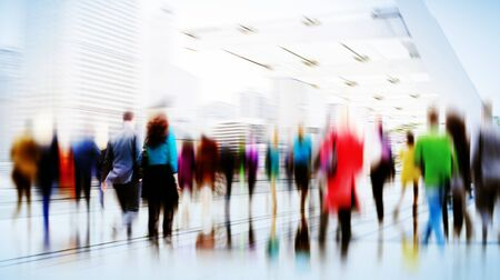 work life: Business People Rush Hour Walking Commuting City Concept
