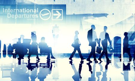 airport: Business People Travel Departure Aiport Passenger Terminal Concept