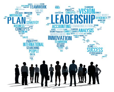 world of work: Leadership Boss Management Coach Chief Global Concept