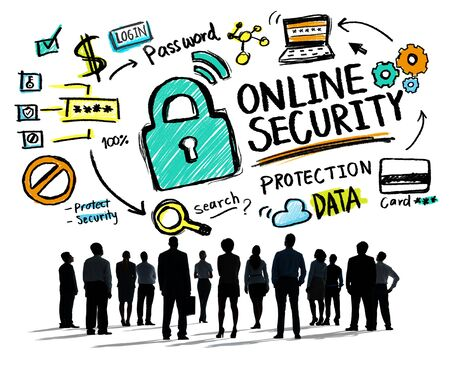 online security: Online Security Protection Internet Safety Business Aspiration Concept